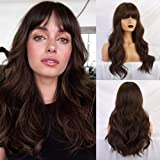 BOGSEA Brown Wig with Bangs Long Brown Wigs for Women Natural Wavy Brunette Wigs Heat Resistant Synthetic Brown Wigs for Dail