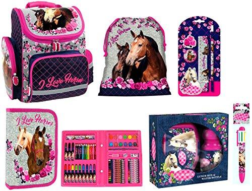 Pferde Horses Schulranzen Mädchen 1 Klasse | Tornister Schulrucksack Schultasche | SET 8 teilig | für Grundschule | super leicht | ZTE4MKO13