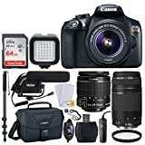 Canon EOS Rebel T6 Digital SLR Camera + EF-S 18-55mm & EF 75-300mm Lens + 64GB Memory Card + Canon 100ES Shoulder Bag + Remote Switch + Condenser Microphone + LED Light + 72' Monopod - Top Video Kit