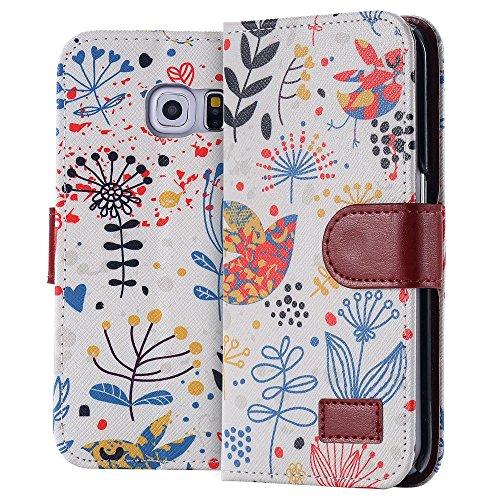 ECENCE Samsung Galaxy S6 Edge SM-G925F Handy Tasche Flip Cover Case Schutz Hülle Etui Wallet Schale Vogel 31040205