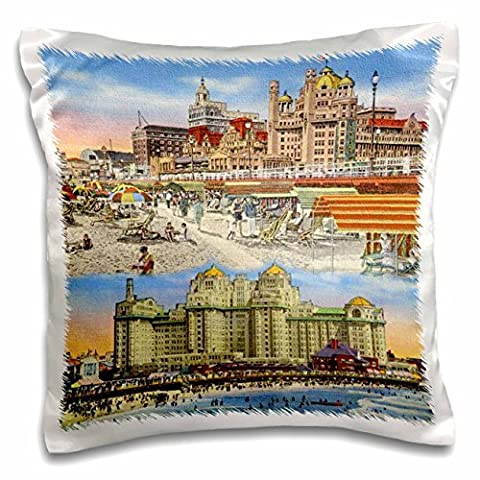 Sandy Mertens New Jersey - Atlantic City Beach and Hotel Tray more Vintage - 16x16 inch Pillow Case