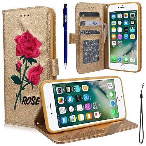 Yokata für iPhone 7 Plus Hülle Glitzer Flip Leder Wallet Bling Case Stickerei Rose Muster Ledertasche mit Kartenfach Standfunktion Weich Silikon Telefon Kasten - Rose Gold + 1x Kapazitive Feder Gold
