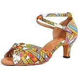 HIPPOSEUS Scarpe da Ballo Latino in Raso da Donna Scarpe da Ballo Salsa Salsa Tacco Alto, Modello 217