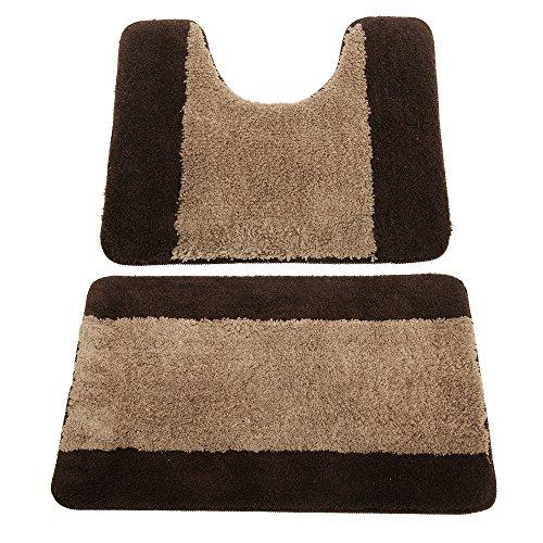 Universal Textiles Conjunto de Dos alfombras para baño (Talla Única) (Beige marrón)