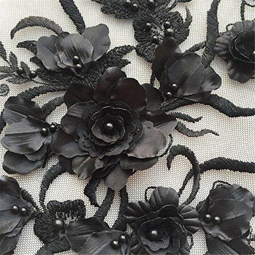 Lace-Motiv für Braut-Kleid Hochzeitskleid Tanz Kostüm Spitze Applikation Spitze mit Perlen für Handwerk Schwarz (Perlen Applikationen Für Kostüme)