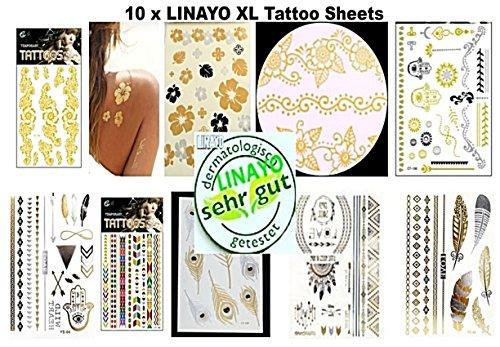 Tattoo party, 10 tavole tatuaggi metallizzato, oro, argento 100 diversi tatuaggi