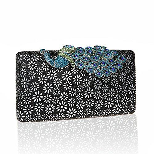 51e0d5289da8a KAXIDY Damen Handtasche Clutch Glänzende Pfau-Kristall Buckle Damentasche  Tasche Abend Handtasche Abendtasche (Blau ...