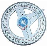 EMVANV transparent Kunststoff 10cm rund Lineal Winkelmesser 360Grad Winkel Finder Swing Arm für Schule Büro Supplies
