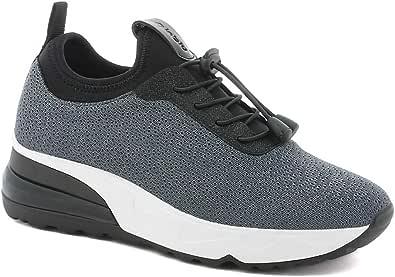 IENNE Sneakers Scarpa Donna Elasticizzata con Stringhe Elastiche Zeppa 4 CM E Sottopiede in Tessuto Imbottito Estraibile Articolo IN-237