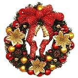 AMUSTER Weihnachten Deko Weihnachten große Kranz Tür Wand Ornament Girlande Dekoration Rot Bowknot Weihnachtsbaum Decor (One size, D)