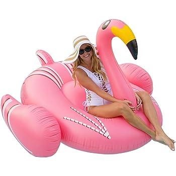 Gonfiabile Gigante Fenicottero, Gioco da Spiaggia, da Piscina o da Festa per Adulti e Bambini