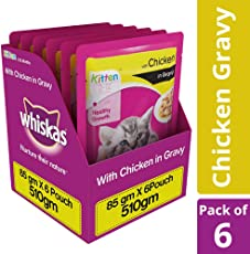 Whiskas Wet Cat Food, Chicken in Gravy for Kittens, 85 g (Pack of 6)
