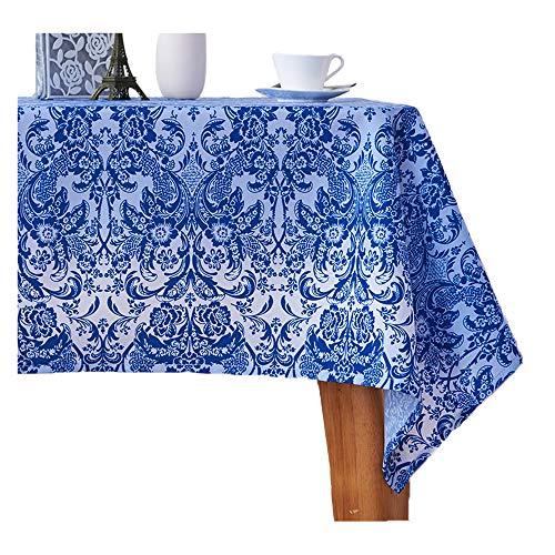 erte Tischdecke Polyester Bedruckte Tischdecke wasserdicht und ölfest Tischdecke für drinnen und draußen, blau, 55 * 79in(140 * 200cm) ()