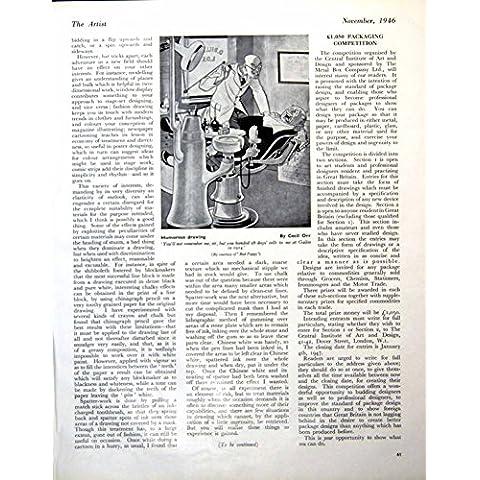 Natività Umoristica Hans Feibusch di Cecil Orr del Dentista del Disegno della Vecchia Stampa Vittoriana Antica Originale 1946 205RG613 - Vittoriano Disegno