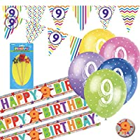9th Birthday Kit: 9th Birthday Bunting, Banners, Balloons, Badge, Candle