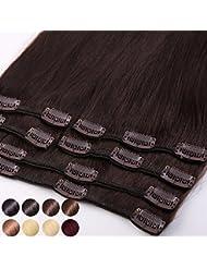 S-noilite® Extensions de cheveux humains naturels à clips - 100% Remy hair - 8MECHES / 18CLIPS - Haute Qualité (25cm-70g ,#02 Chocolat foncé)