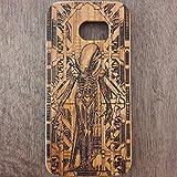 Apple iPhone & Samsung Holzhülle - Ultraslim Handyhülle Echtem Holz Schutz Hülle Schale mit PC Bumper Hart Cover Case Etui Smartphone, Wood Cover Xenomorph Artwork theme