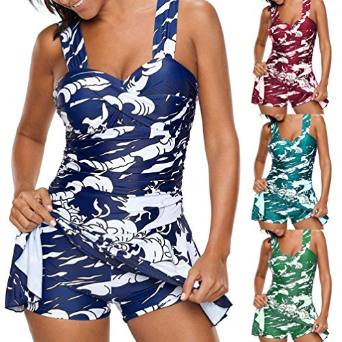 Cheap Clearance! Toamen Women's Tankini Sets with Boy Shorts Swimsuit, Push-up Padded Bra Swimsuit Swimwear Beachwear, Bikini