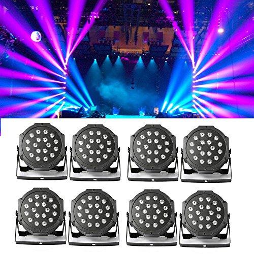 8 Stück Bühnenlicht Set 54W LED RGB Flat PAR Licht DMX 512 Bühncht Beleuchtung 6 Steuerkanäl LED Discokugel RGB Blitzlicht Disco Lichteffekte...