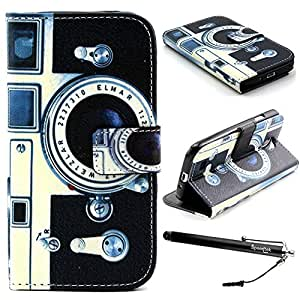 S4 Case, Galaxy S4 Case, Speedtek Camera Pattern Premium PU Leather Wallet Flip Protective Skin Case with Magnetic Closure for Samsung Galaxy S4 i9500 (2013) (Built-in Credit Card/ID Card Slot)
