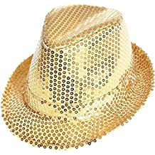TrAdE Shop Traesio - Cappello Borsalino Paillettes Oro Spettacolo TEATRO  Paillette Uomo Donna f1525a6349de