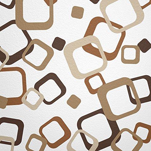 Preisvergleich Produktbild WANDfee® Wandtattoo 60 farbige Retro Cubes Vierecke Farbe dunkelbraun braun hellbraun beige