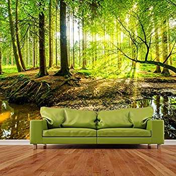 1Wall Stunning Green Forest Green Trees And Sunrise Wallpaper Wall ...