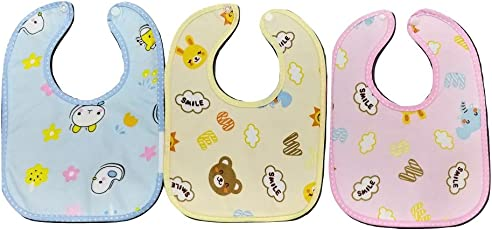Chirsh New Born Soft Cotton Toddler/Baby Velcro Bibs/Apron (Pack of 3) (0-24 Months)