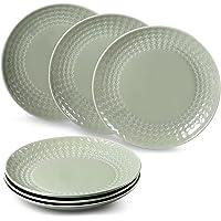 """suntun Assiettes Plates Porcelaine 6 pièces, Gris Vert Assiette à Dîner Services de Table pour 6 Personnes, 10"""" Vintage…"""