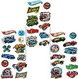 50 tlg. Set Aufkleber / Sticker -  Hot Wheels Fahrzeuge  - selbstklebend - für Jungen - HotWheels Auto Stickerset Kinder - z.B. für Stickeralbum / Figuren - Fahrzeug - Biker Motorrad