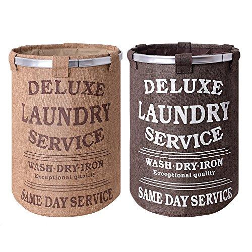 teprovo 2 Stück Wäschekorb Wäschesammler Laundry Basket Schmutzwäsche Korb 60 L Canvas Leinenoptik Deckel Kordelzug 1x beige 1x braun -