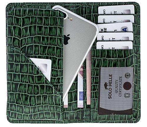 "Solo Pelle iPhone 7 / 7 Plus / 6 / 6S / 6 Plus / 6S Plus Case Lederhülle / Reiseetui / Ledertasche ""Leony"" 4,7 bis 5,5 Zoll Geräte (Vintage Schwarz) Krokodil Prägung Grün"