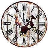 Reloj de Pared de Madera - Reloj Manecillas Silenciosas Números Vintage...