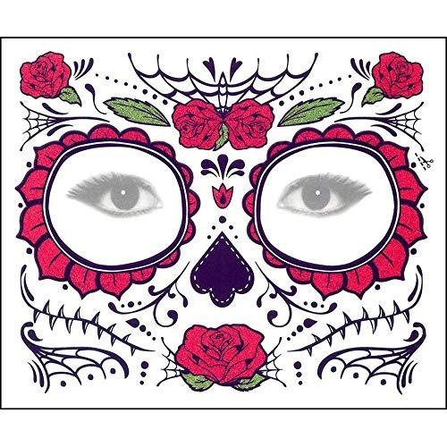 Prevently Halloween Masken, 2 STÜCKE Halloween Masken Festival Party Cosplay Halloween Gesicht des Todes Tag der Toten Dia de los Muertos Gesichtsmaske Zuckerschädel Tattoo Schönheit (Colour D)