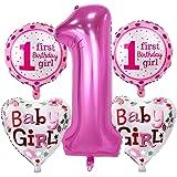 Khurana Decorative 1st Birthday Girl Foil Balloon Set for First Birthday Girl (Pack of 5 - Pink)