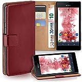 moex Sony Xperia M4 Aqua | Hülle Dunkel-Rot mit Karten-Fach 360° Book Klapp-Hülle Handytasche Kunst-Leder Handyhülle für Sony Xperia M4 Aqua Case Flip Cover Schutzhülle Tasche