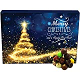 Hallingers 24 Pralinen-Adventskalender, mit/ohne Alkohol (300g) - Glitzertanne (Advents-Karton) - zu Weihnachten Adventskalender