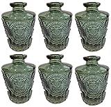 Dekoflasche Glasflasche 3 oder 6 Stück Korkenglas Korkengläser Deko Apotheke Flasche Likörflasche Apothekerglas Vintage Glas (6 Stück, antik grün)