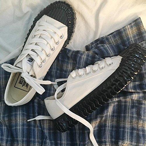 Damen wellenförmige Sohlen beiläufige Schuhe Frühling und Sommer Art- und Weisesegeltuch-Sport-Schuhe white black
