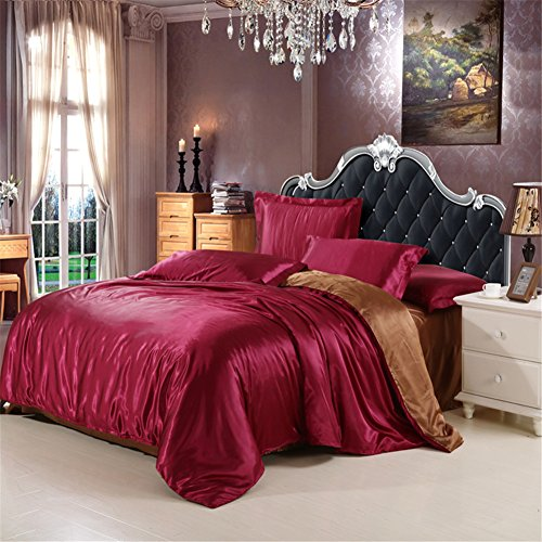 Pterygoid collection raso di seta trapunta copripiumino set da letto include copripiumino, lenzuolo, federe in singolo/matrimoniale/king size, wine red with brown, king(220x240 cm)-fit for 1.8 m bed