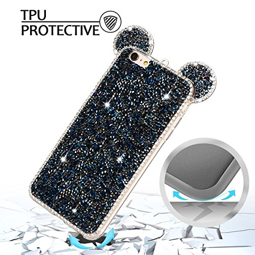 Coque iPhone 6 Plus , Bling Glitter Case Cover Flexible Souple TPU Etui Mode Dessin Motif 3D Mignonne Charmant Strass Oreilles Diamant Housse Cas Lumineuse Luxe oreille Enveloppe Coque Pour E-Lush App Bleu
