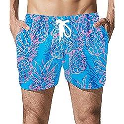 Goodstoworld Hombre Bañador Shorts Playa Natacion Pantalon Corto Hombres Poliéster Secado Rápido Ligero Bermuda Moda Shorts Piña M
