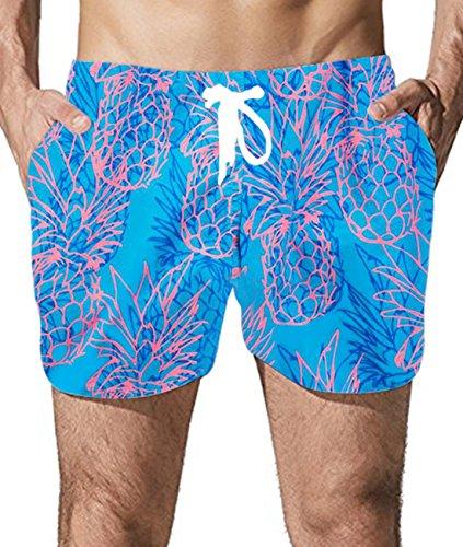 Goodstoworld Ananas Badehose Herren Freizeit Kurze Badeshorts Schnell Trocknend Sommer Boardshorts Männer Beach Shorts 3D Druck L