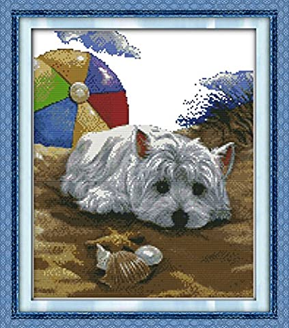 CaptainCrafts Hot New Releases Cross Stitch Kits Patterns Embroidery Kit - Dog Missing (WHITE)