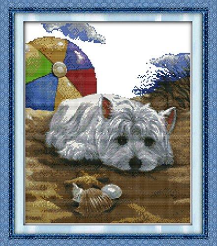 tich-Stickset mit Hunde-Motiv, weiß, Weiß ()