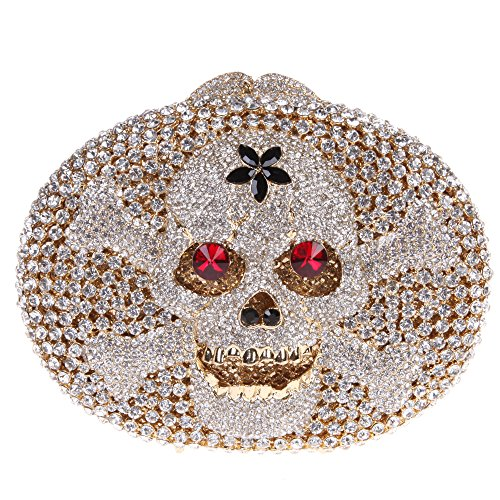 Bonjanvye Crystal Rhinestone Bags Purses with Skulls Clutch Evening Bag for Halloween Party - Gelbe 2017 Halloween-party