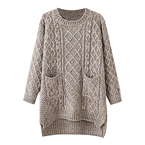 Cosanter Damen Sweatshirt Langarm Pullover Bluse Langarm Tops T-Shirt Rundhals Lose Version Grauer Pullover