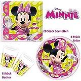 Disney Minnie Mouse Set Party Deko Tischgeschirr 36 teilig Servietten Teller Becher Kindergeburtstag Partygeschirr für 8 Personen