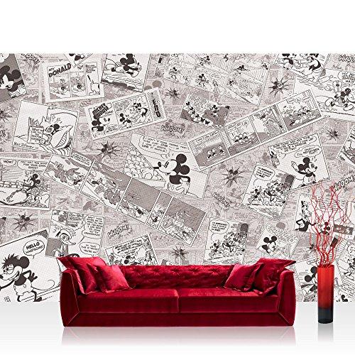 Vlies Fototapete 416x254cm PREMIUM PLUS Wand Foto Tapete Wand Bild Vliestapete - Disney Tapete Micky Maus Cartoon Comic Freunde Pluto Mickey Mouse Kindertapete grau - no. 2136