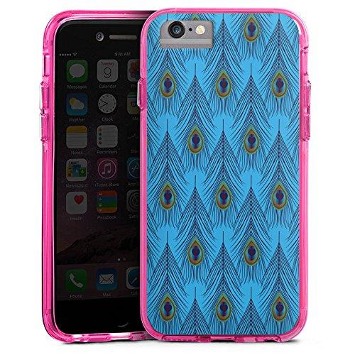 Apple iPhone 6s Bumper Hülle Bumper Case Glitzer Hülle Straußenfeder Muster Pattern Bumper Case transparent pink
